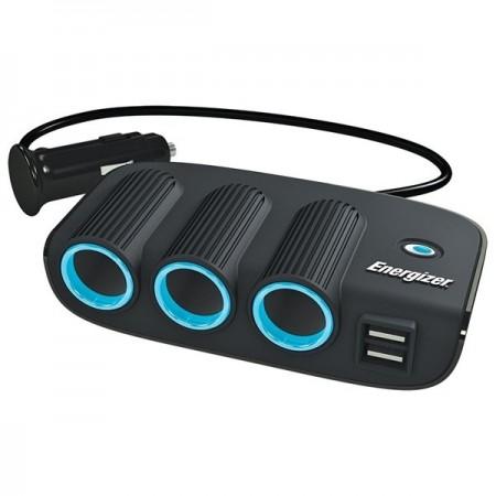 Energizer 12V Triple Socket Adaptor With Two USB Slots