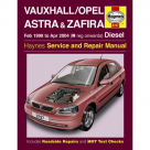 Vauxhall Vauxhall/Opel Astra & Zafira Diesel (Feb 98 - Apr 04) R to 04 Reg - Car Manual  3797A at Autovaux Genuine Vauxhall Suppliers