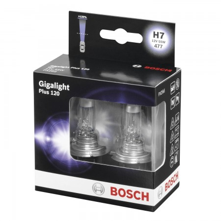 Bosch Gigalight Plus 120 Halogen H7 12V 55W Bulb Kit PX26D